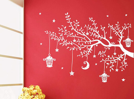 white tree wall stickers