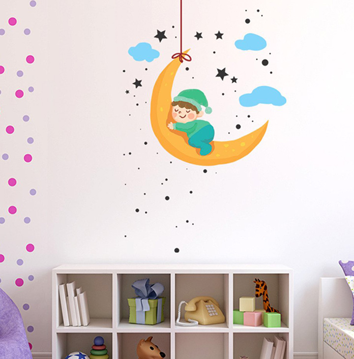baby moon and stars' wall sticker