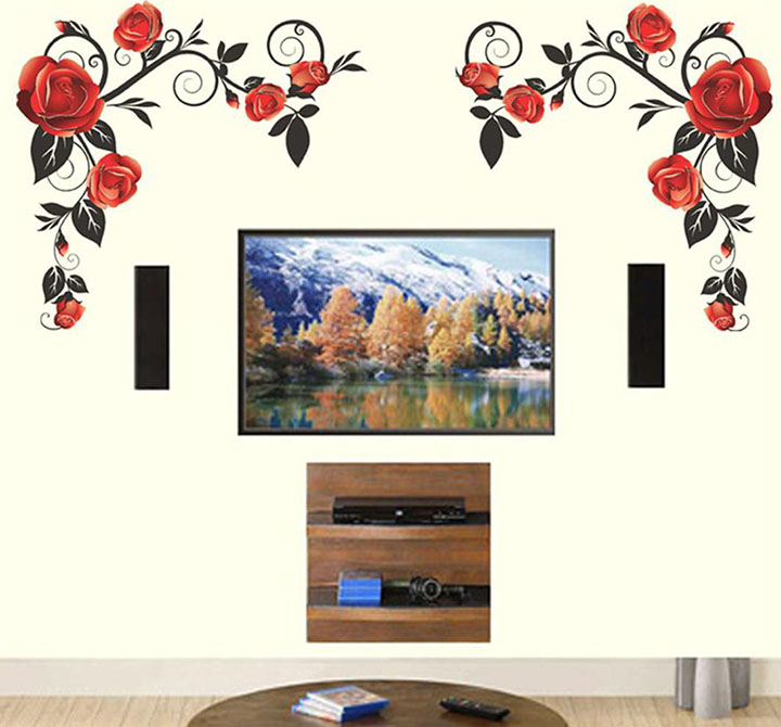 background rose with vine wall sticker
