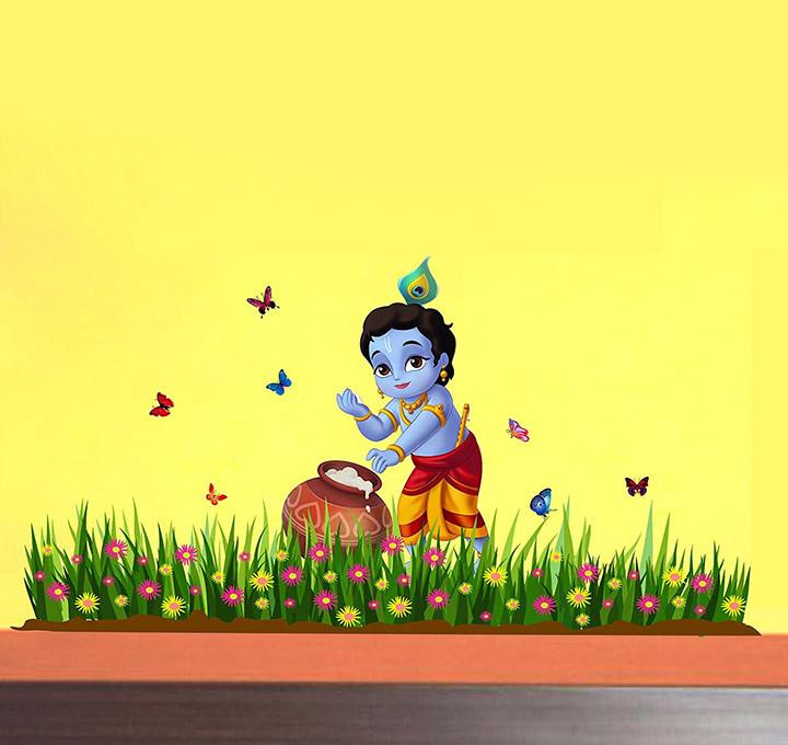 'bal krishna with grass butterfly' wallpaper, wall sticker