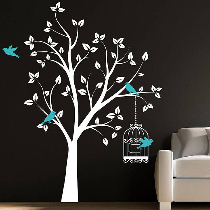beautiful white tree blue birds and cage