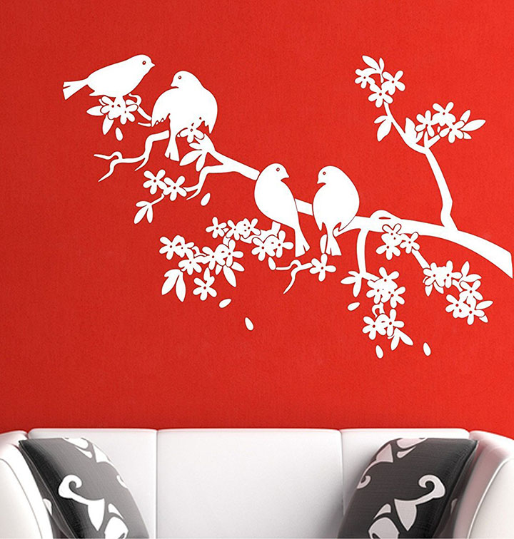 birds on white tree wall stickers