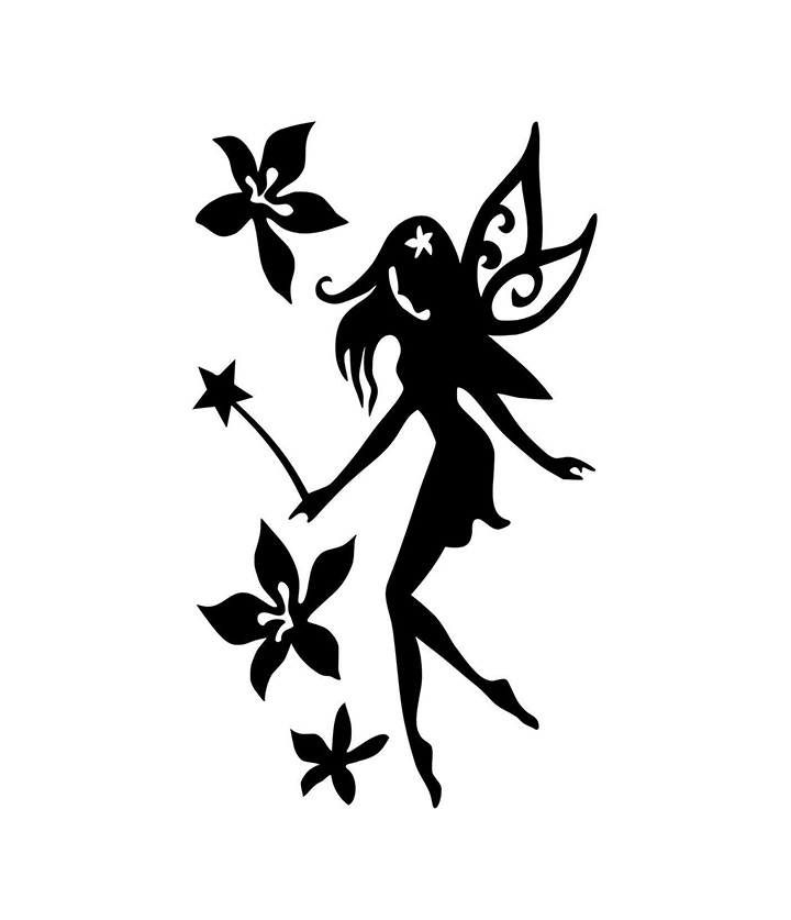 black colour fairy with flowers wall sticker