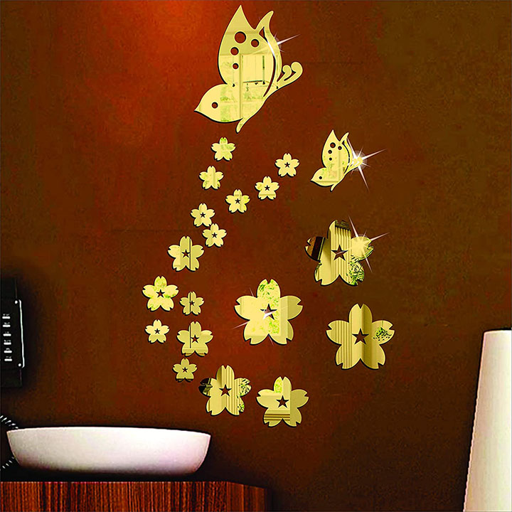butterfly & flowers golden 3d acrylic decorative mirror wall stickers