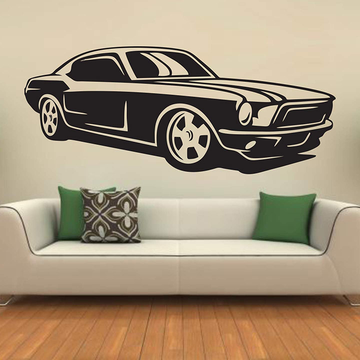 classic - muscle - racing - car - creative - colorful - wall sticker'