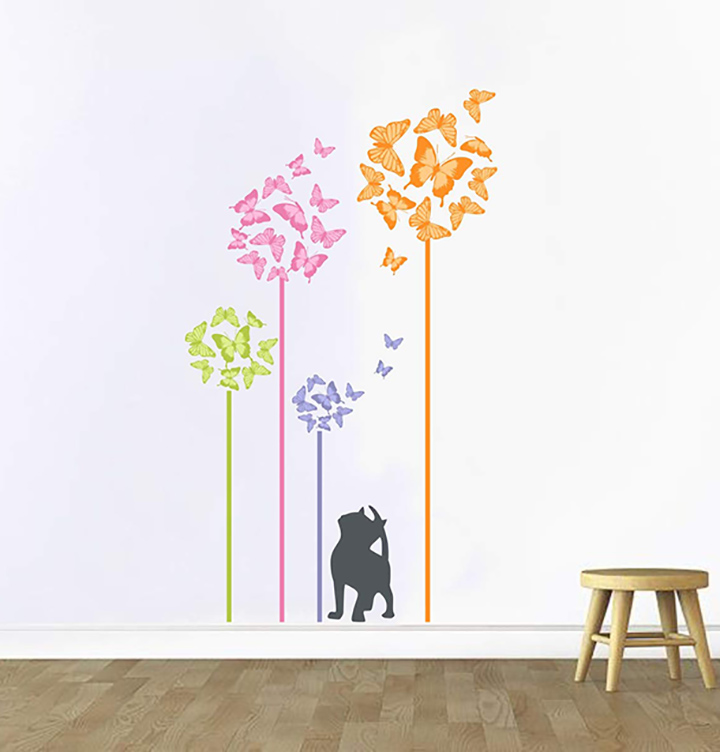 colourful butterflies with silhouette of cat wall stickers