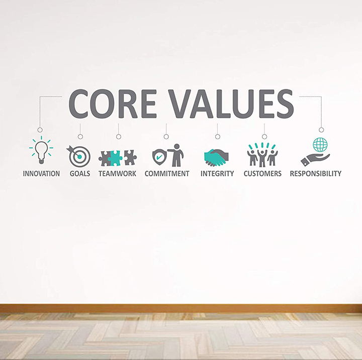 core values - office quotes wall tile fridge sticker