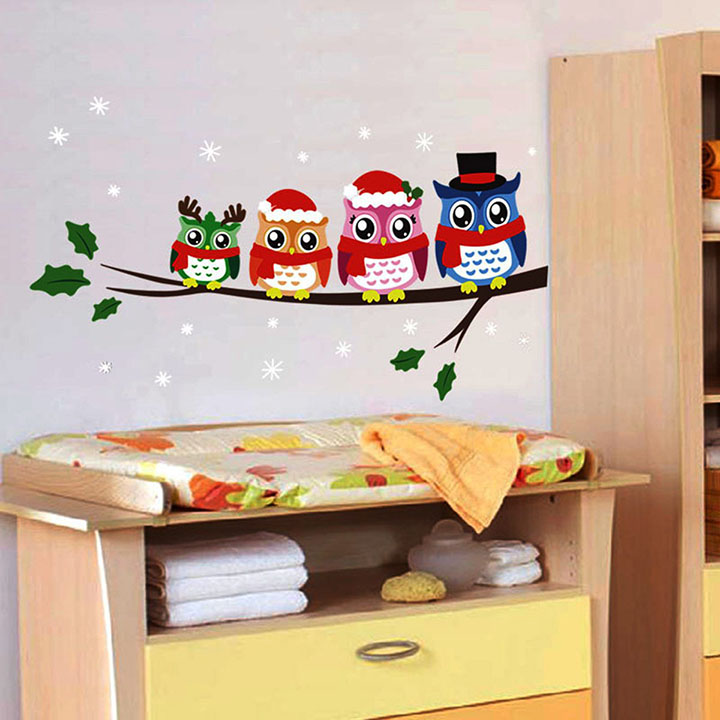 cute owls with christmas cap' wall stickers