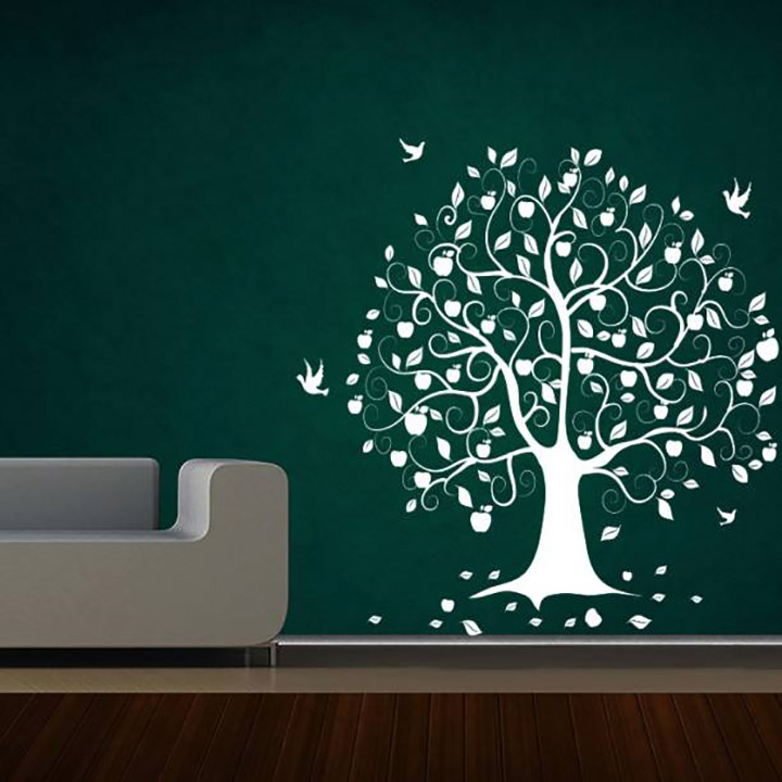 decal style birds on tree wall sticker