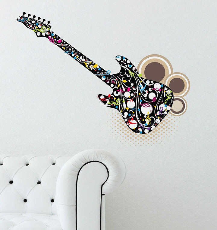 decals design 'guitar for music lovers' wall sticker