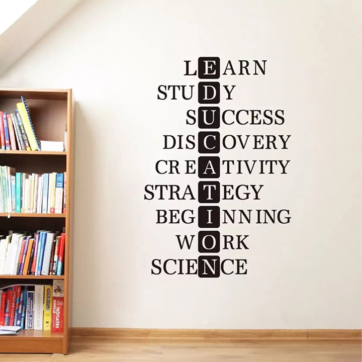 educational study motivational success quote, inspirational words wall sticker