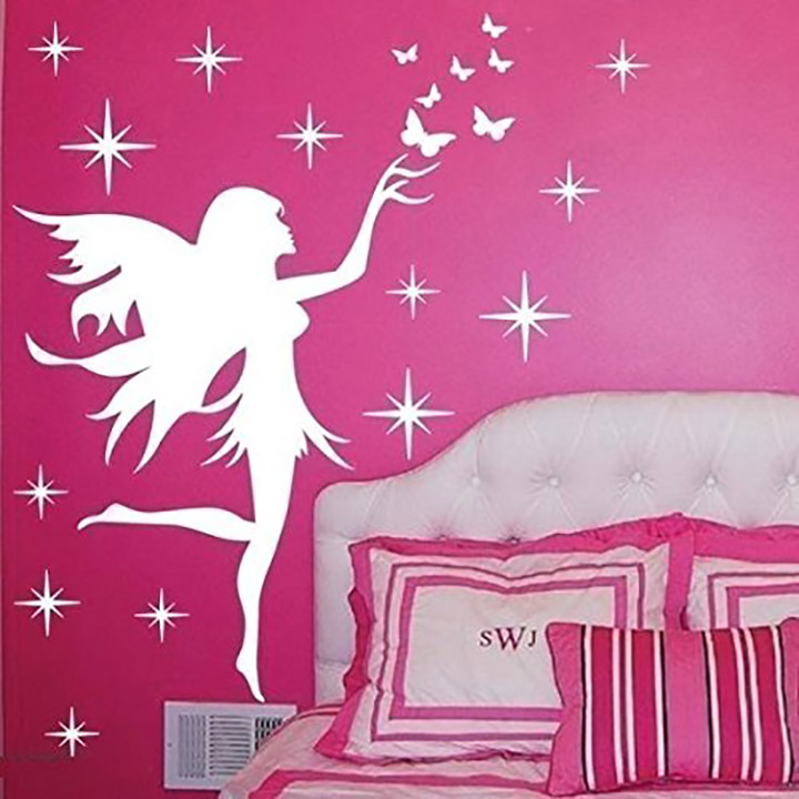 fairy angel wall stickers - white