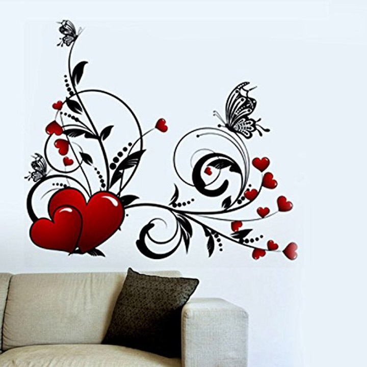 floral design with hearts and butterflies wall sticker