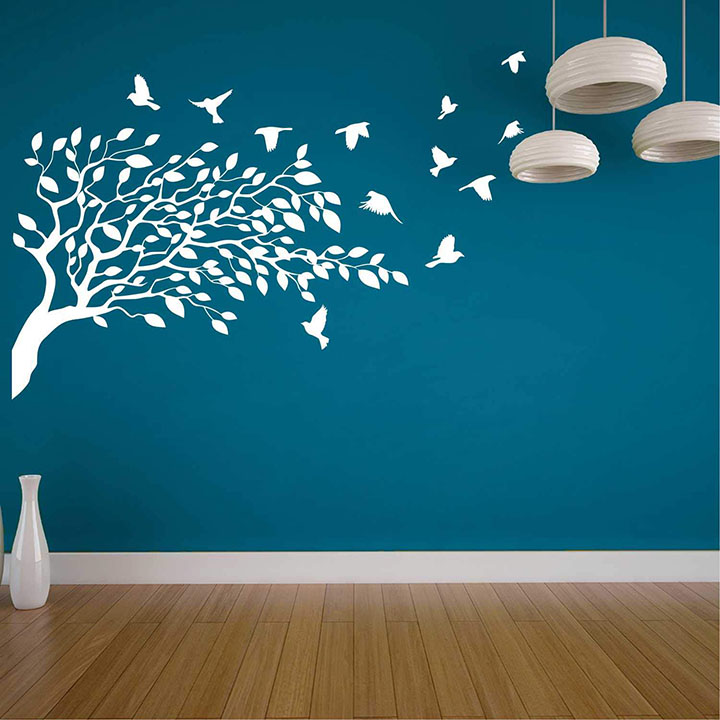 flying birds and white tree for blue wall sticker