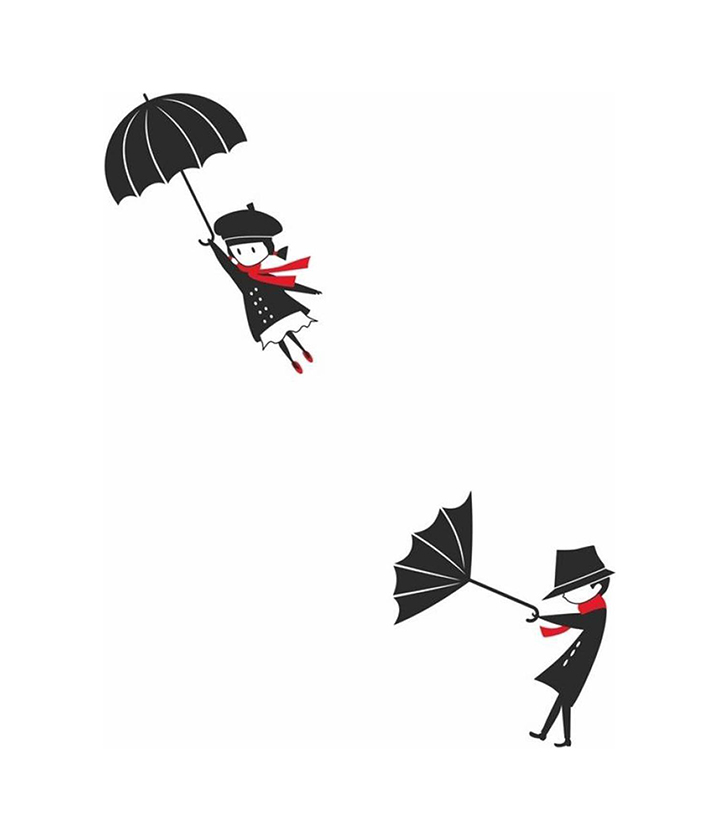 'funny flying girl and boy in wind with umbrella' wall sticker.