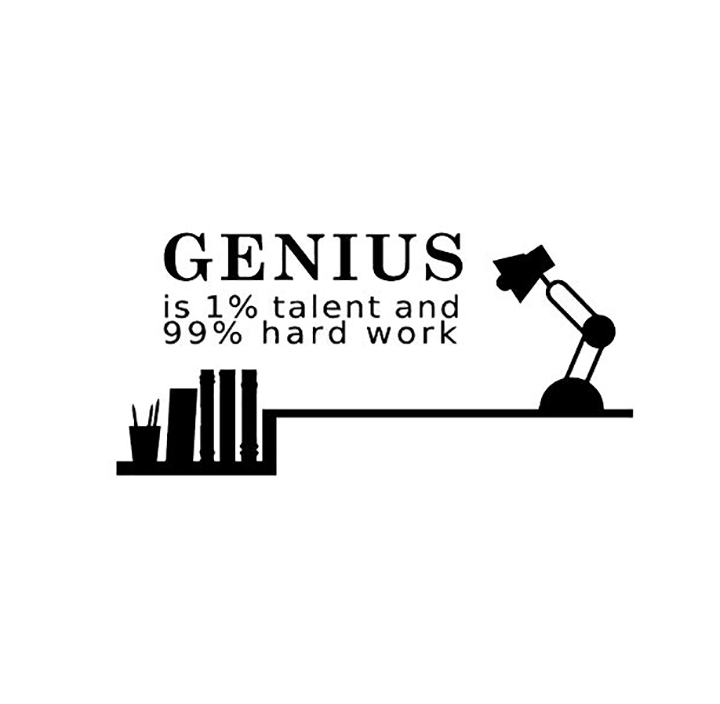 genius is 1% talent and 99% hard work motivational quotes wall stickers