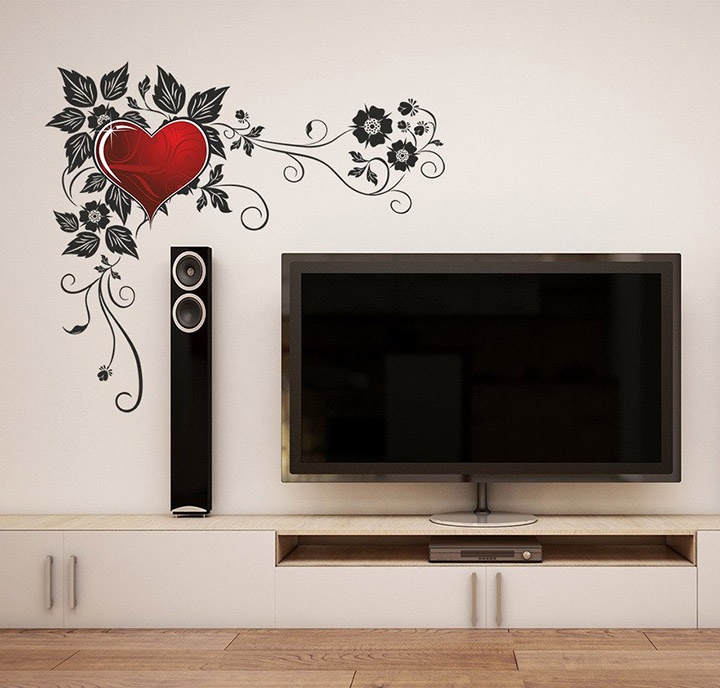 gothic floral heart' wall sticker