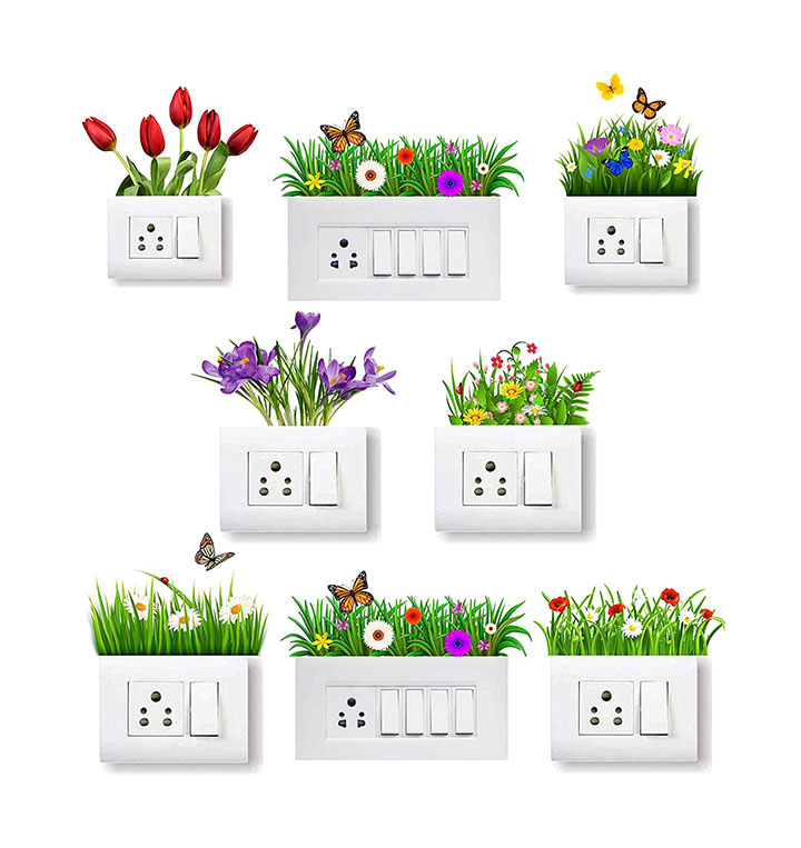 grass wall stickers for switch board wall sticker