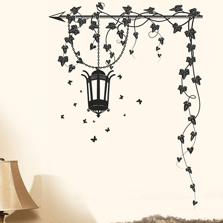 hanging lamp and vines black