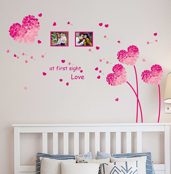 heart shaped flowers with blowing petals wall decal