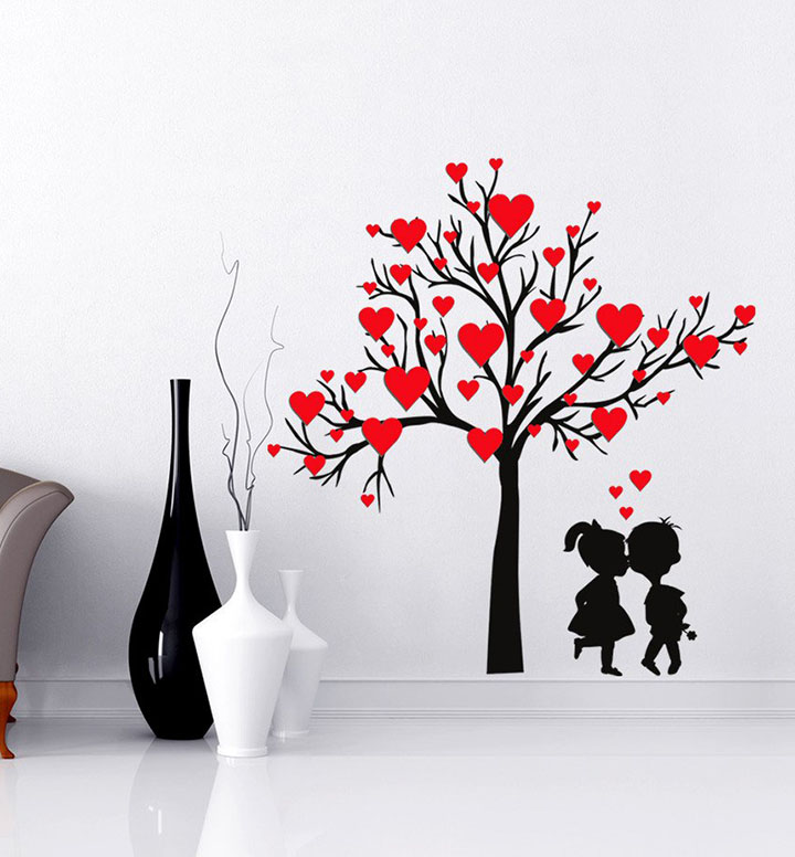 'heart shaped leaves with loving couple' wall sticker