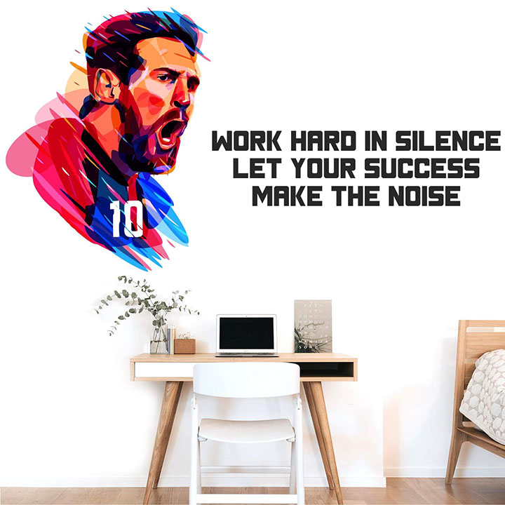 'lionel messi - let your success make the noise - sports - football - wall sticker'