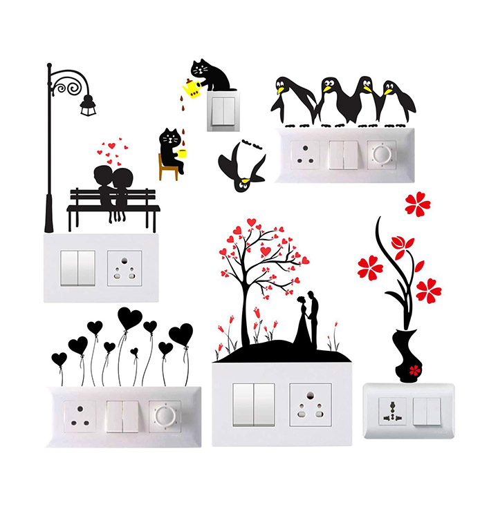 little penguins and park switch board wall sticker