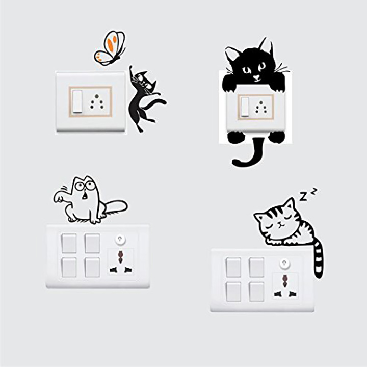 lovely cat wall decal for switchboard wall sticker