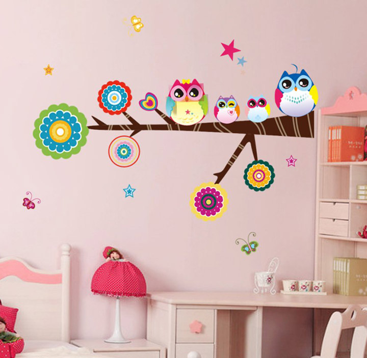 lovely star owl family' wall stickers