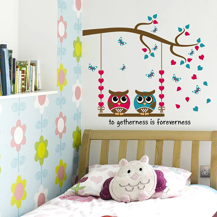 owl family get together ' wall stickers