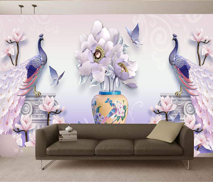 peacock  3d wallpaper wall stickers