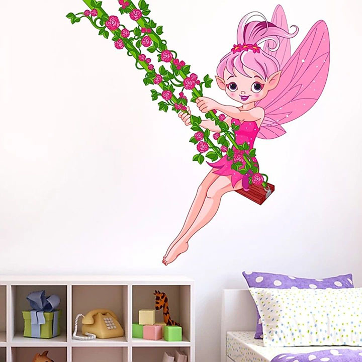 pink fairy in jhula for kids wall sticker