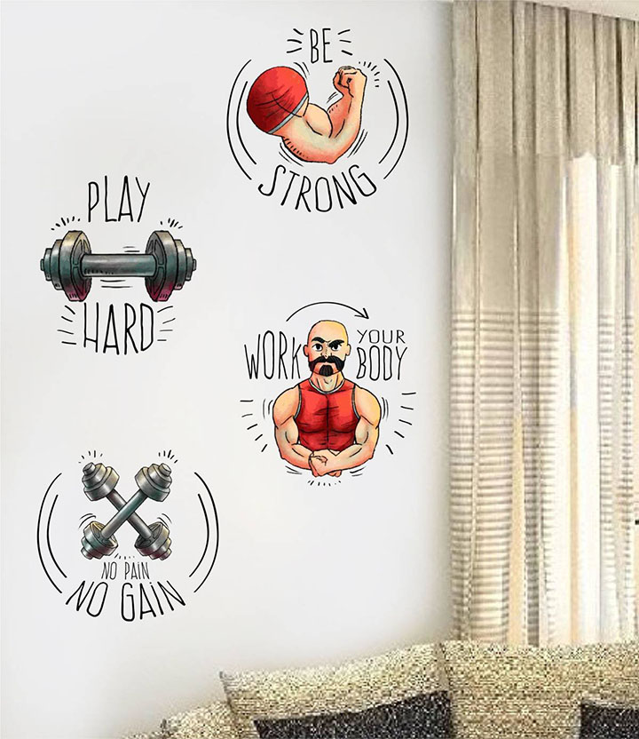 rawpockets gym quotes combo' wall sticker
