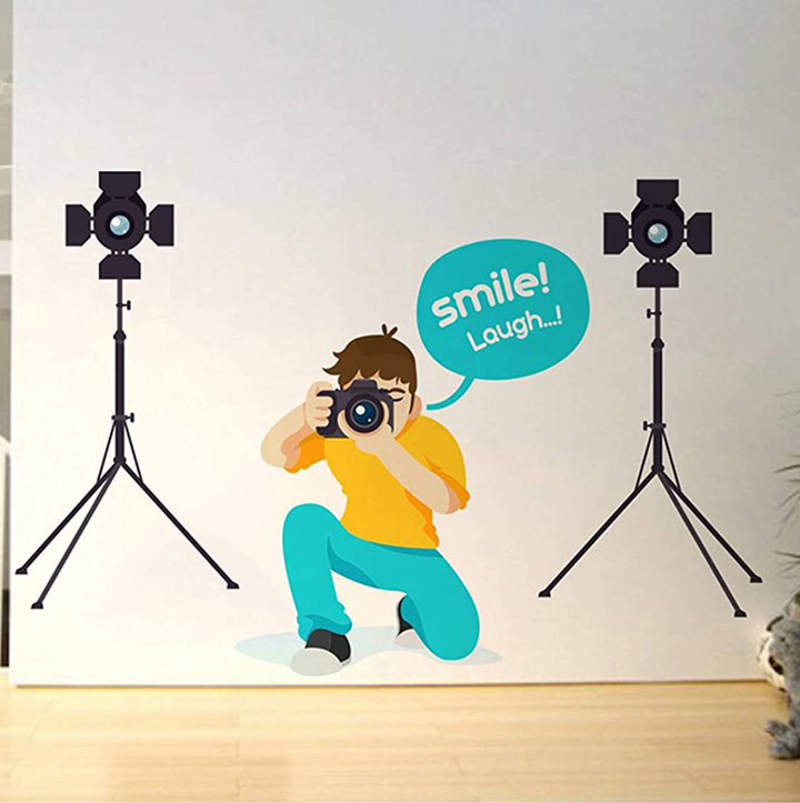 'smile and laugh creative' wall sticker