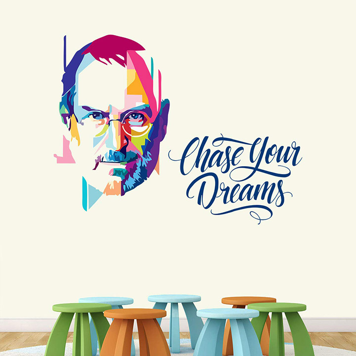 'steve jobs - chase your dreams - wall sticker '