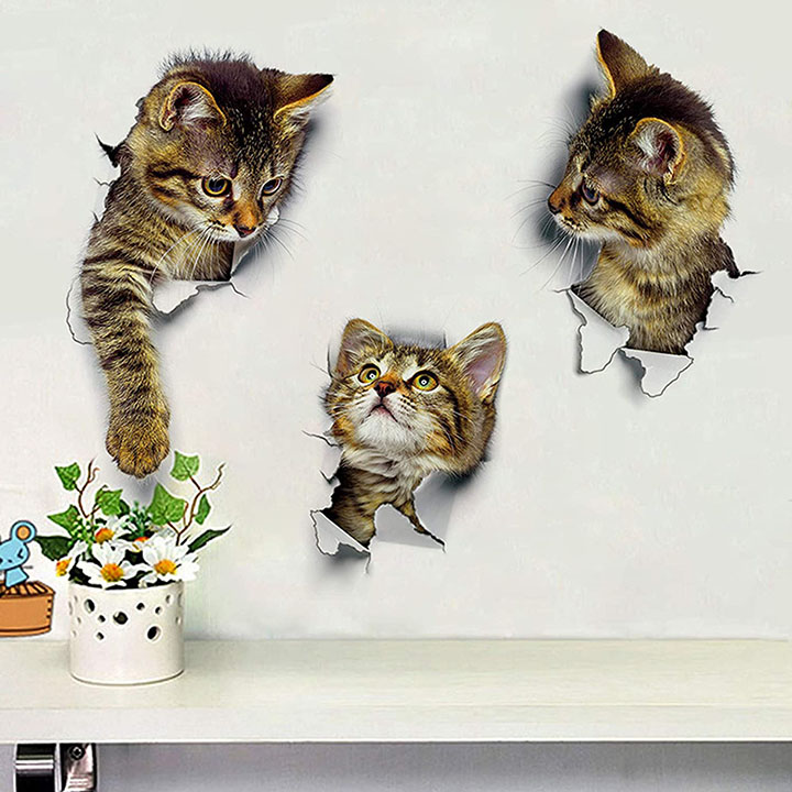 three lovely cats hole view wall stickers
