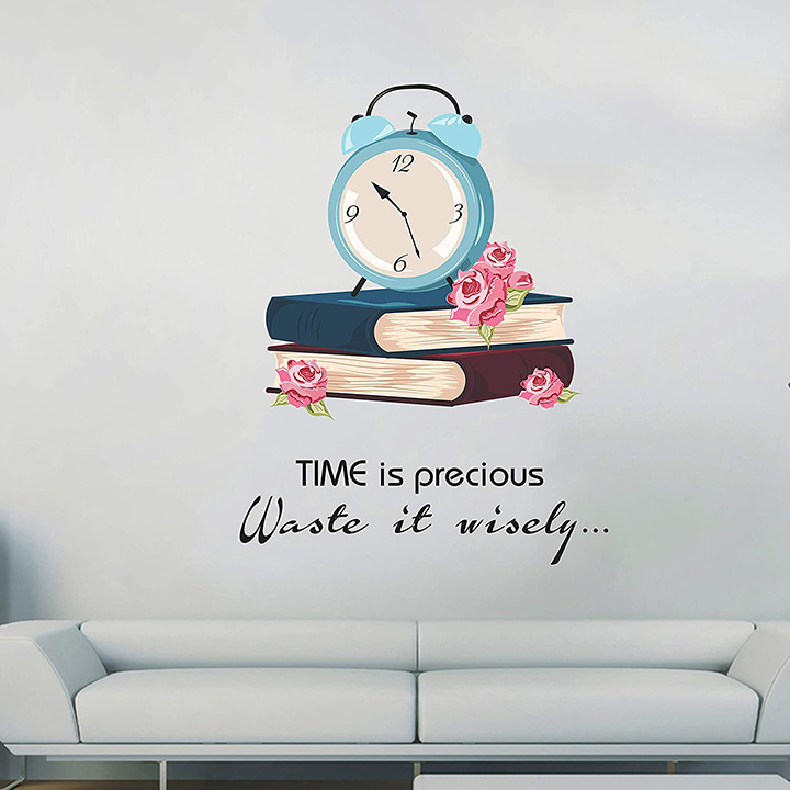 time is precious wall sticker for study room, school