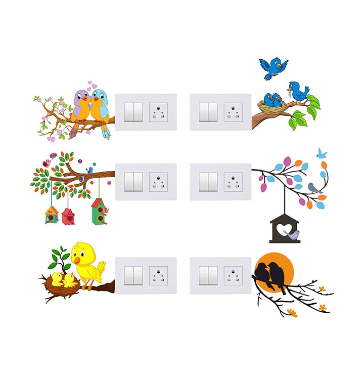 tree branches and birds switch board wall sticker