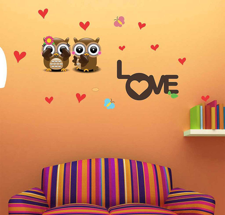 two owls with symbol of love' wall stickers