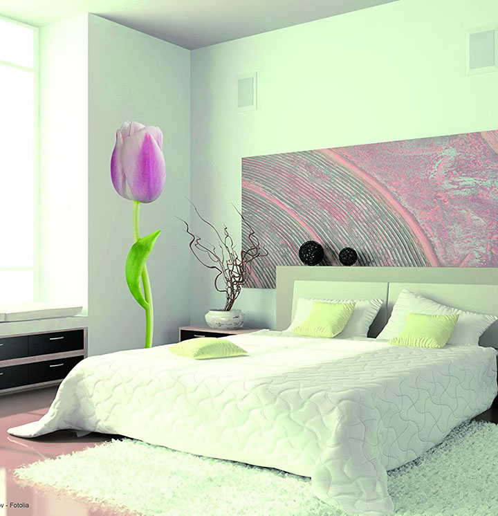 wall sticker for green walls with tulip flower home décor wall stickers