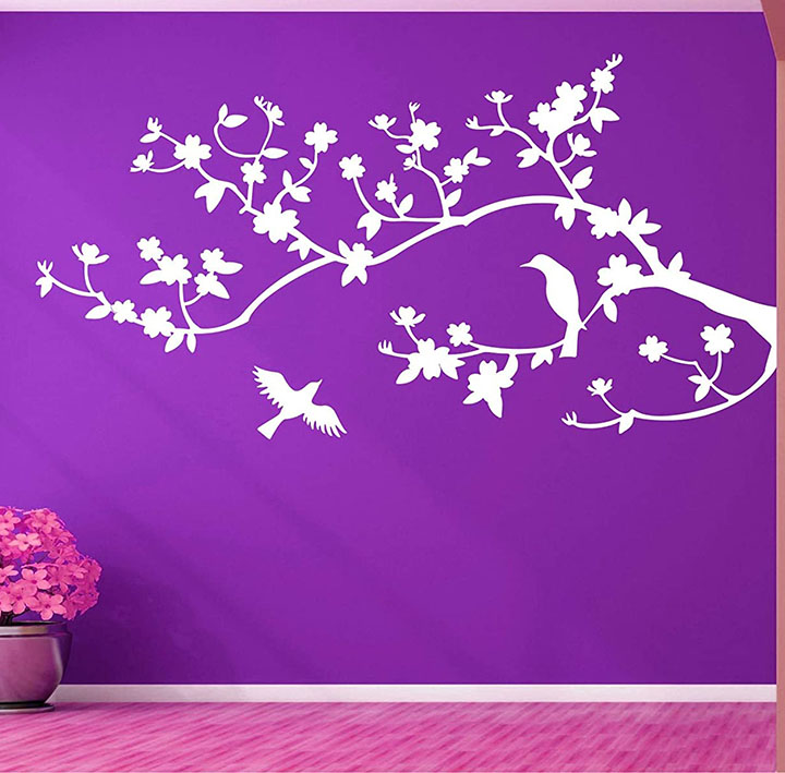 white bird on tree branches for dark wall, wall sticker