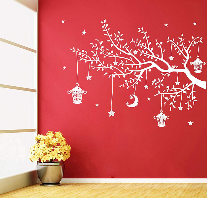 white tree with hanging lamp decorative wall sticker