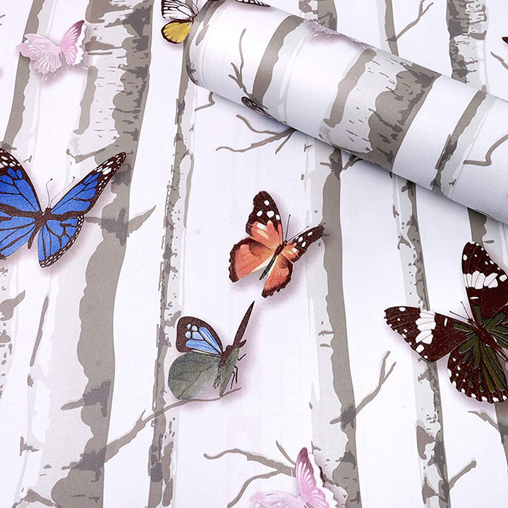 3d stark trees and butterflies self adhesive wall stickers
