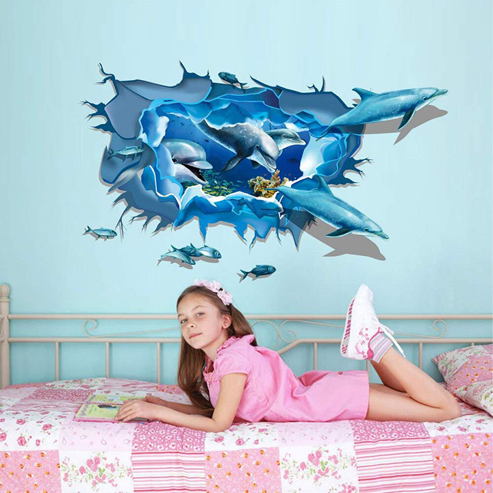 3D hole view Dolphin Wall Sticker for Children Room