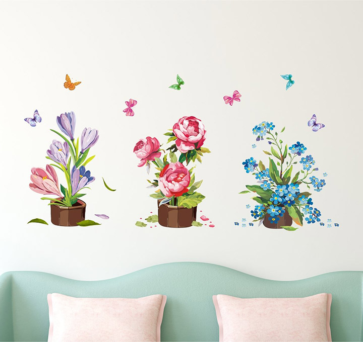 Amazon Brand - Solimo Wall Sticker for Living Room (Flower Bouquets)