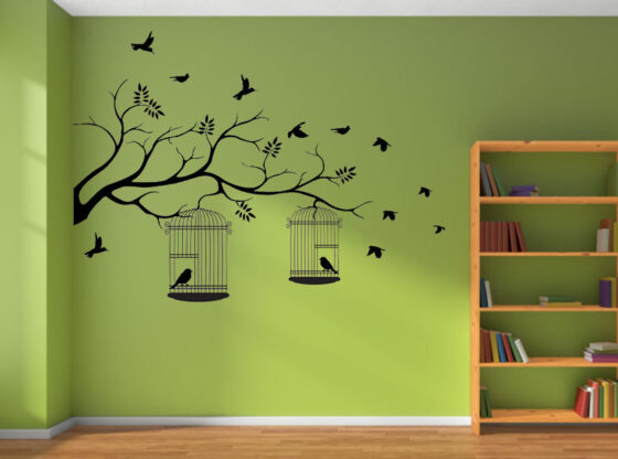bird cage wall stickers