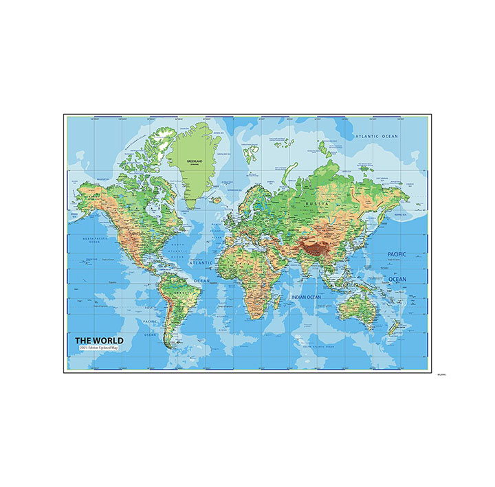 blue and green color world map wall stickers