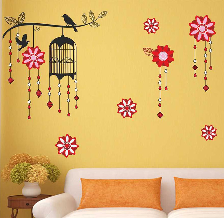 cage with bird on branch wall sticker