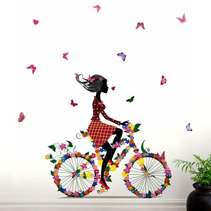 Decals Design 'Bicycle with Flowers and Girl' Wall Sticker
