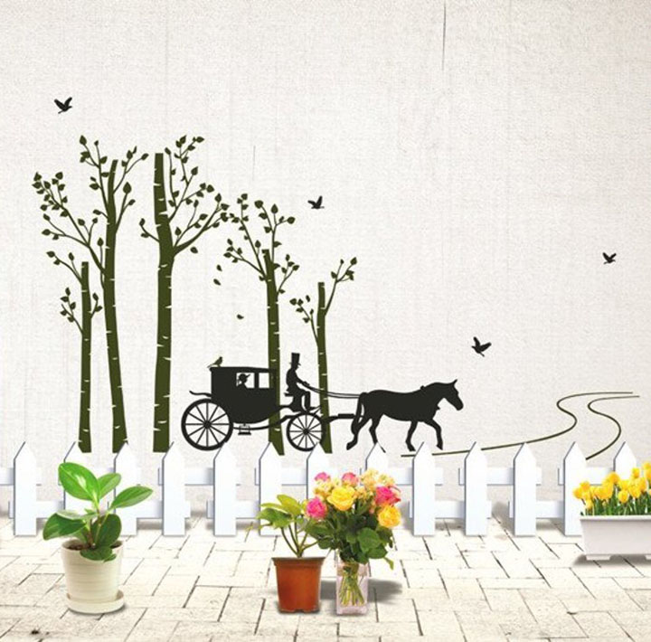 decals design horse cart with trees and birds wall sticker